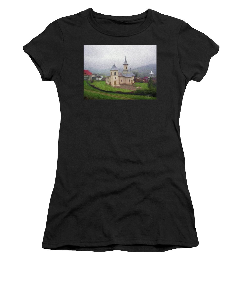 Chapel Women's T-Shirt featuring the painting Church In The Mist by Jeffrey Kolker