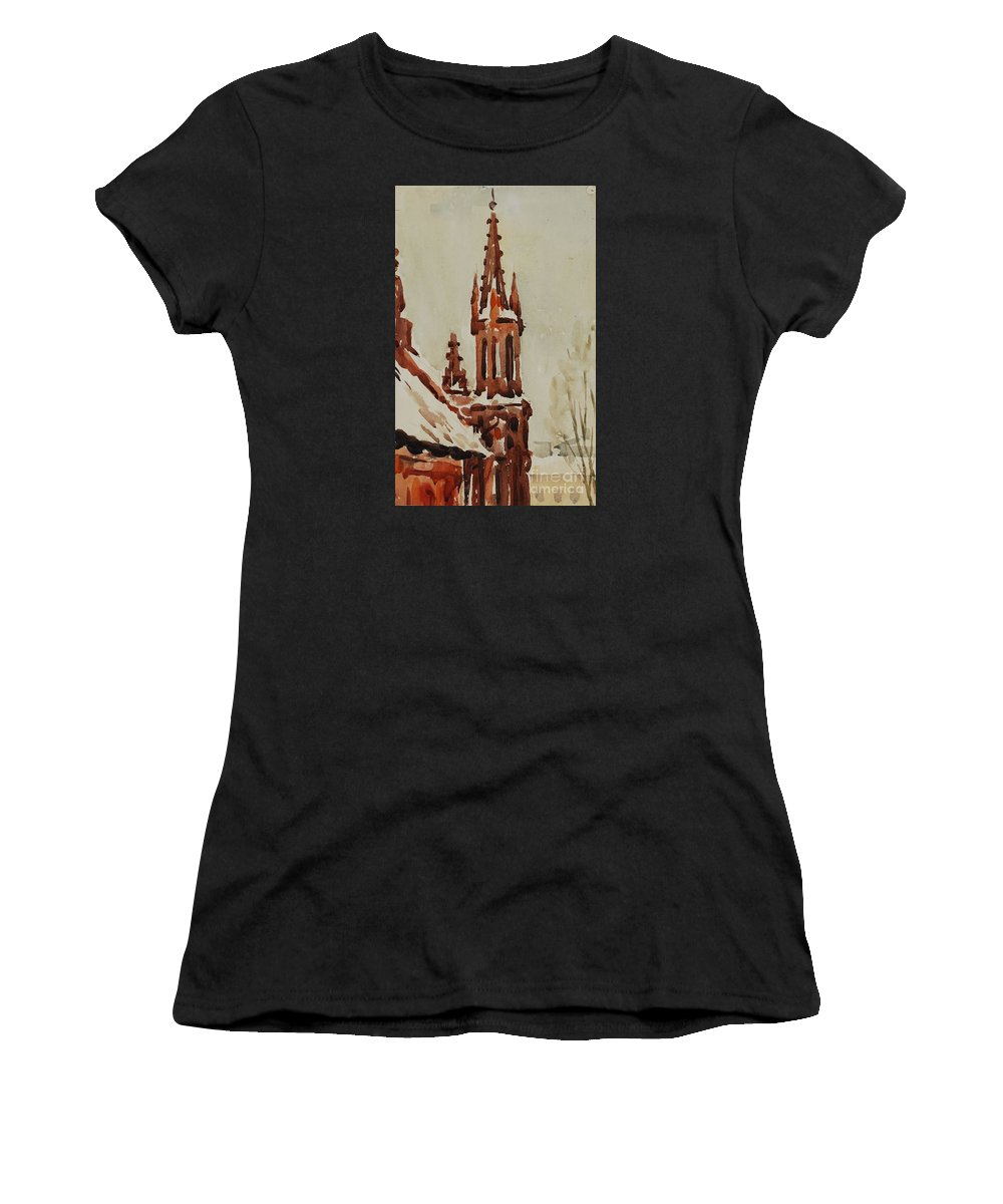 Church Women's T-Shirt (Athletic Fit) featuring the painting Church by Oleg Konin