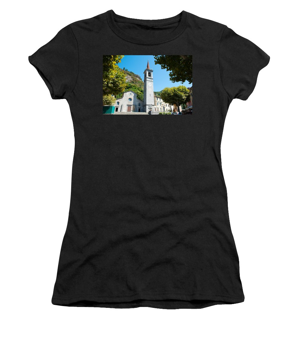 Photography Women's T-Shirt featuring the photograph Church On Main Square, Varenna, Lake by Panoramic Images