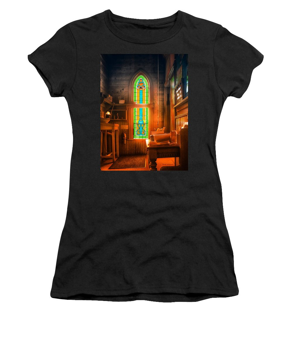 Stained Glass Women's T-Shirt (Athletic Fit) featuring the photograph Church Vestibule by Thomas Woolworth