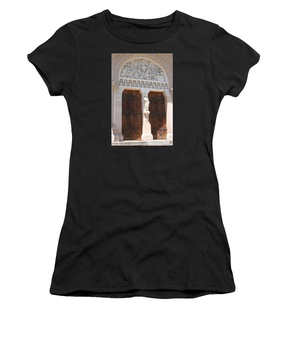 Church Women's T-Shirt (Athletic Fit) featuring the photograph Churchdoor - Saint Peter - Macon by Christiane Schulze Art And Photography