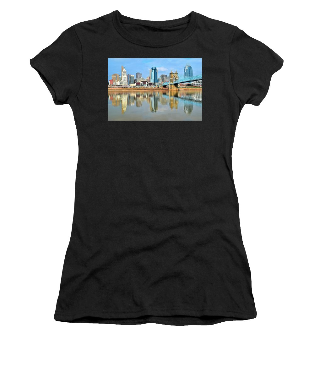 Cincinnati Women's T-Shirt (Athletic Fit) featuring the photograph Cincinnati Reflects by Frozen in Time Fine Art Photography