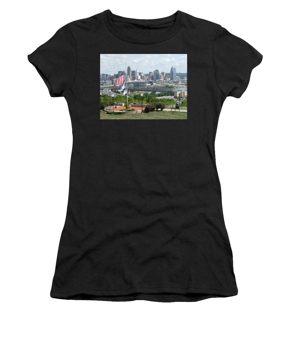 Cityscape Women's T-Shirt featuring the photograph Cincinnati Skyline by Ellen Meakin