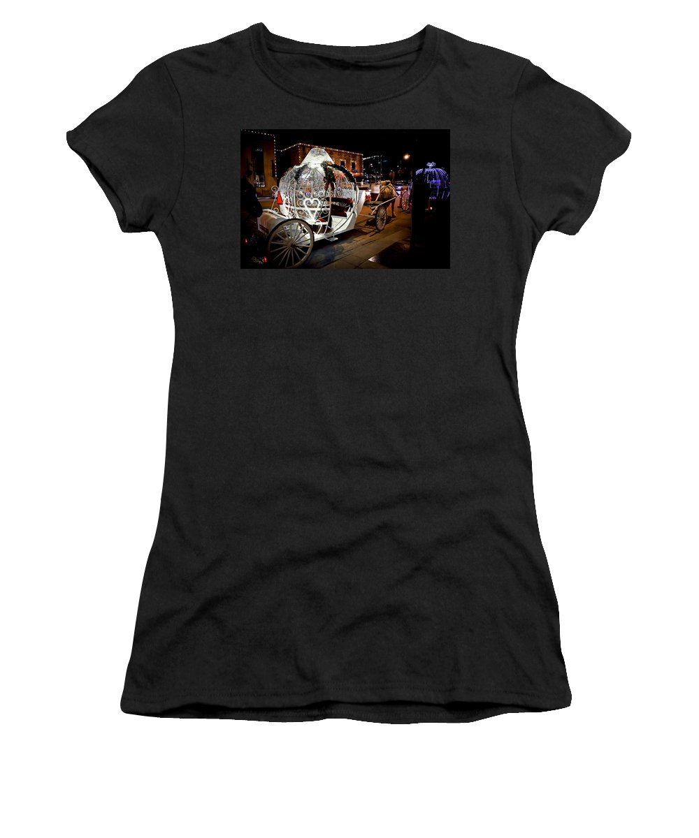Horse And Carriage Women's T-Shirt (Athletic Fit) featuring the photograph Cinderella's Ride by Sennie Pierson