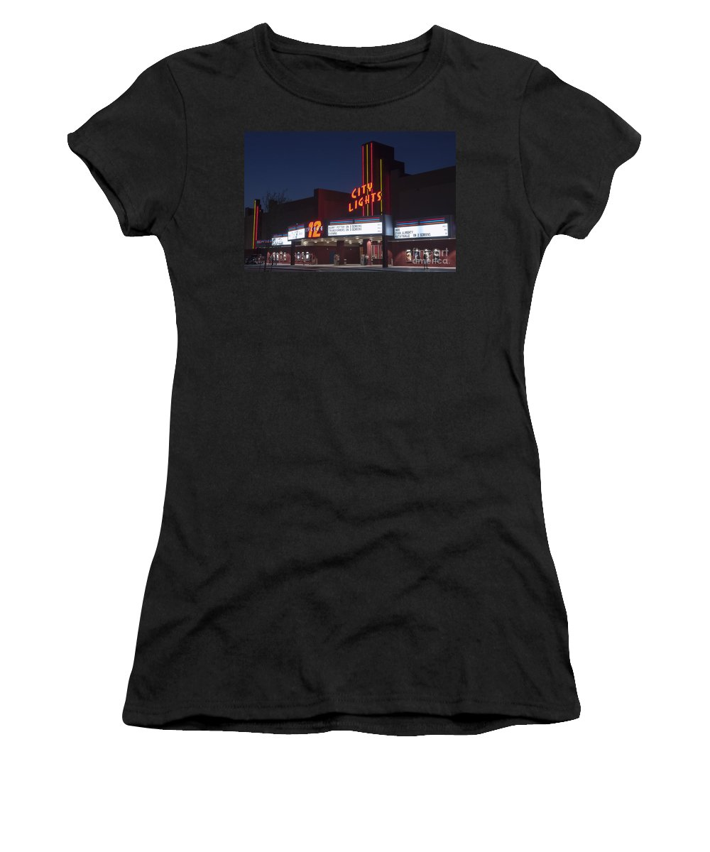 City Lights Movie Theater Women's T-Shirt featuring the photograph City Lights After Dark by Bob Phillips