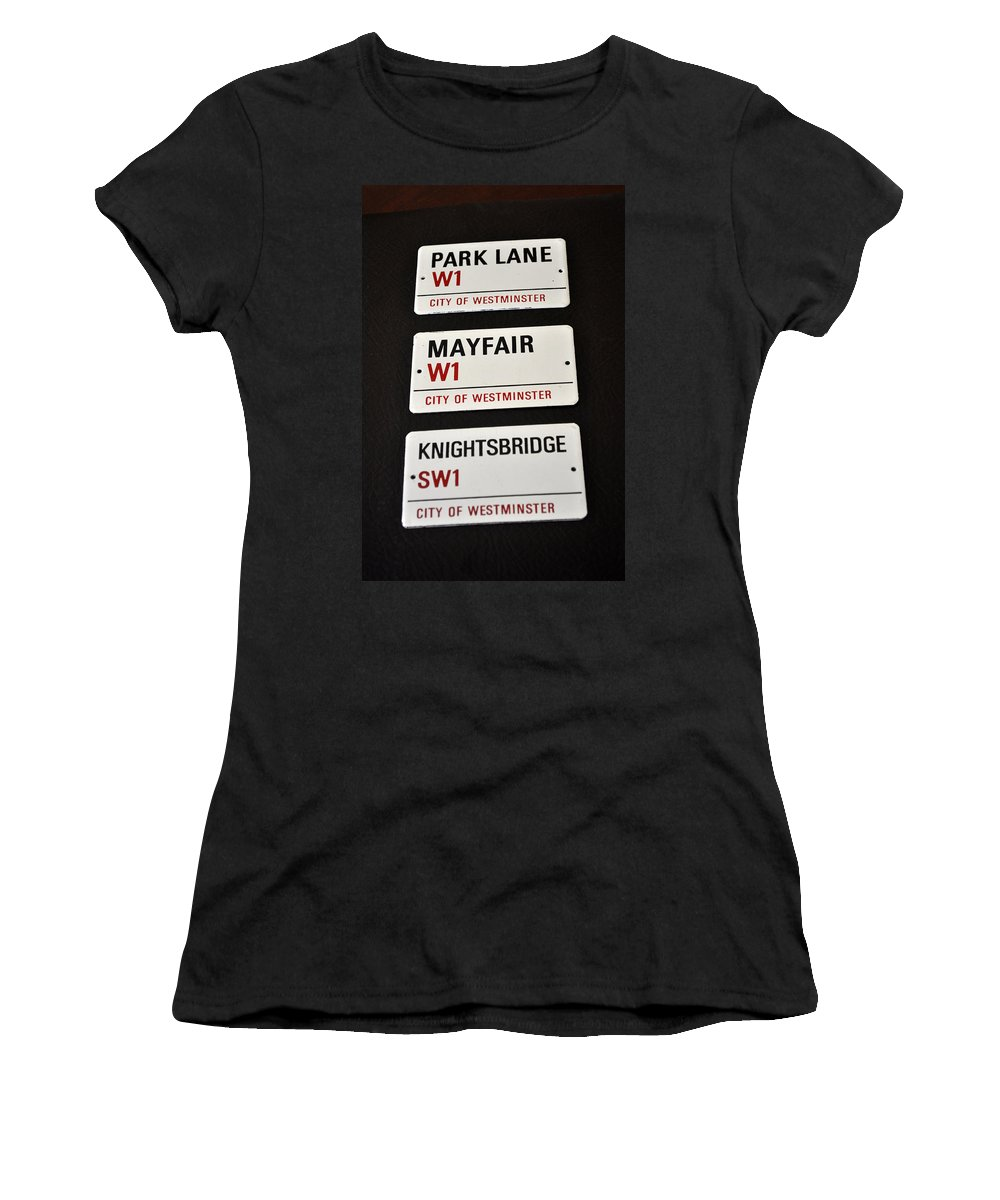 Signs Women's T-Shirt featuring the photograph City Of Westminster by Jay Milo