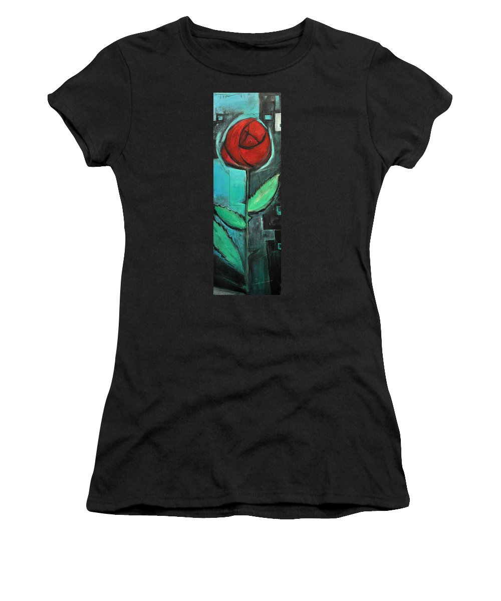 Rose Women's T-Shirt featuring the painting City Rose - Few Noticed by Tim Nyberg