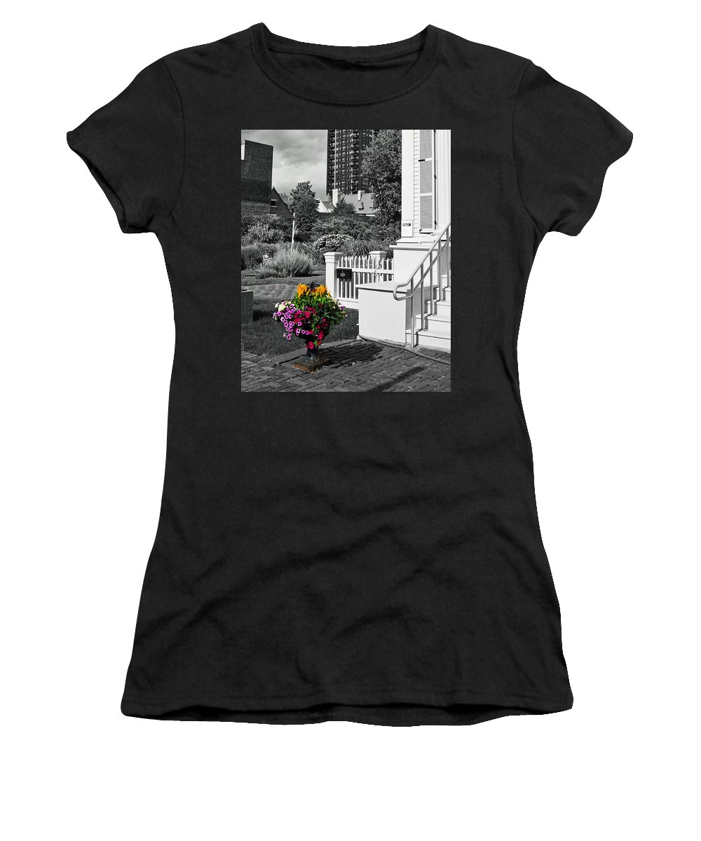 Chicago Women's T-Shirt (Athletic Fit) featuring the photograph Clark House Flowers 2 by Rick Selin