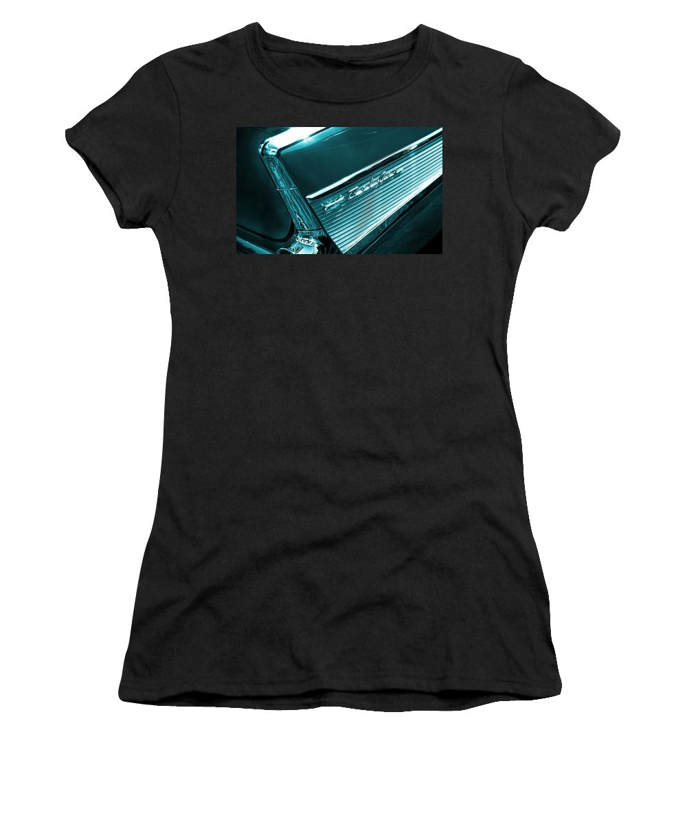 Women's T-Shirt (Athletic Fit) featuring the photograph Classic '57 Teal And Chrome by Gordon Dean II