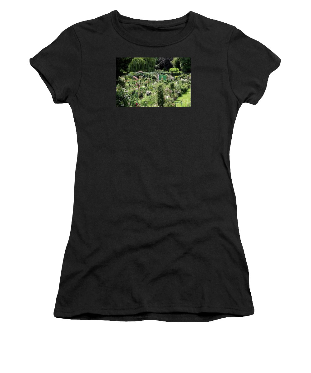 Claude Monet Women's T-Shirt (Athletic Fit) featuring the photograph Claude Mounets Green Garden Gate by Christiane Schulze Art And Photography