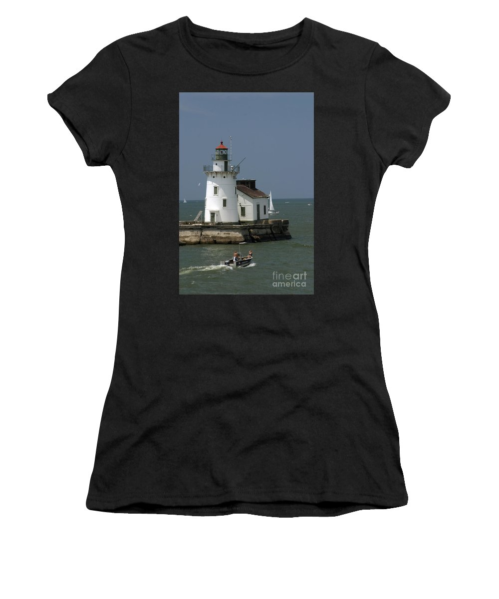 Lighthouse Women's T-Shirt (Athletic Fit) featuring the photograph Cleveland Lighthouse by Darleen Stry