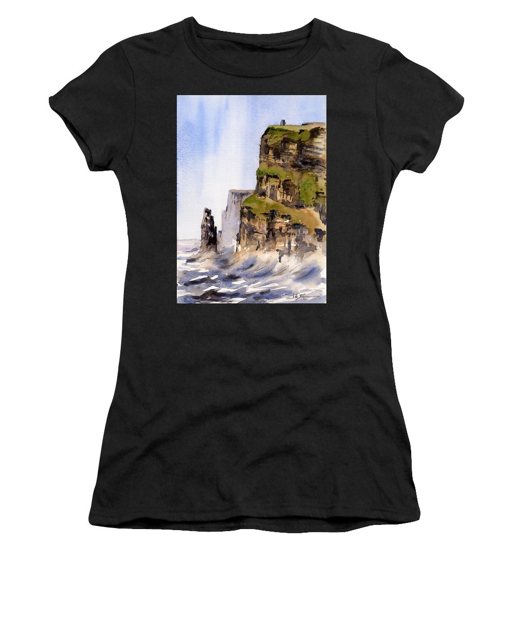 Val Byrne Women's T-Shirt (Athletic Fit) featuring the painting Clare  The Cliffs Of Moher  by Val Byrne