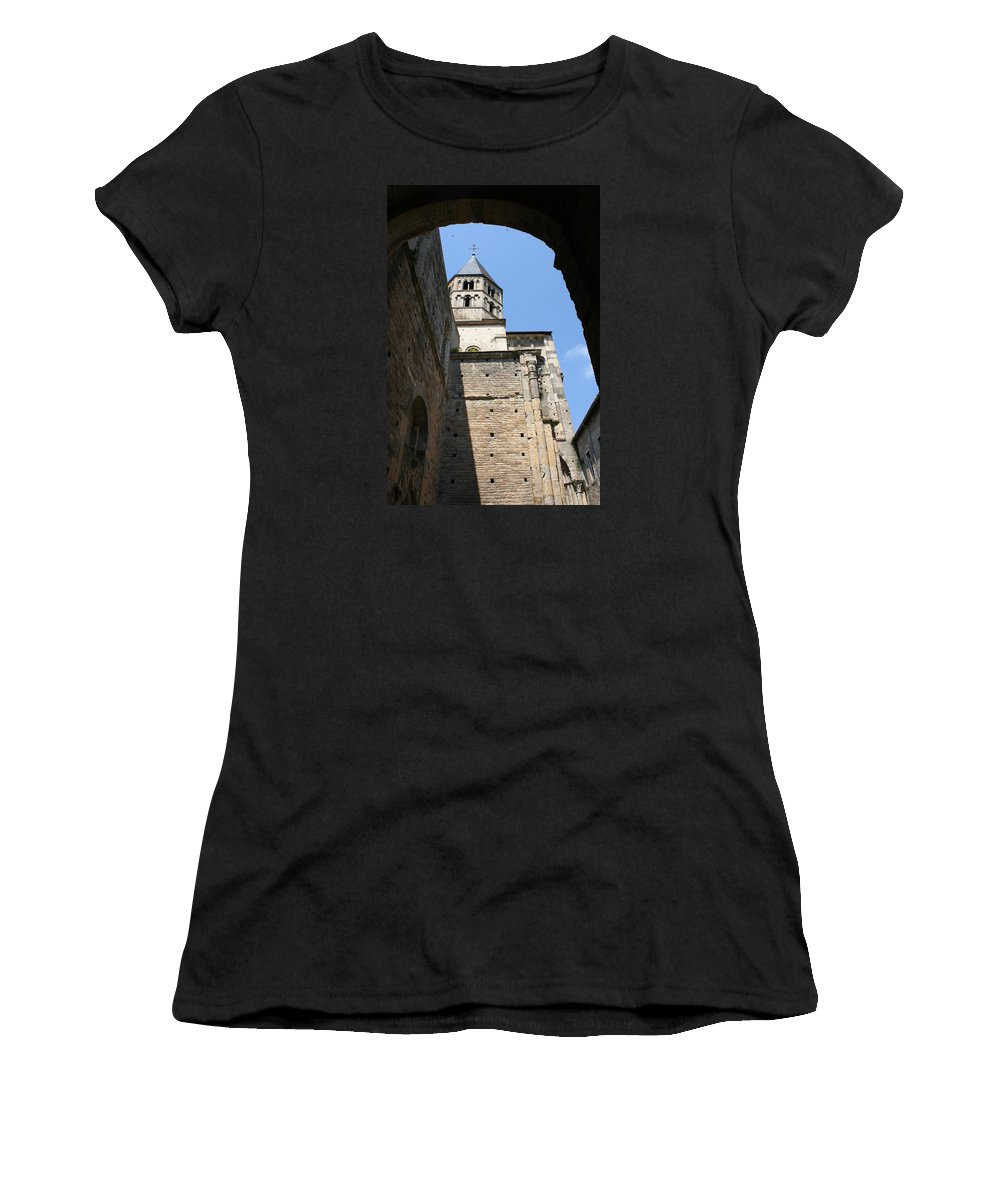 Cloister Women's T-Shirt (Athletic Fit) featuring the photograph Cloister Cluny Church Steeple by Christiane Schulze Art And Photography