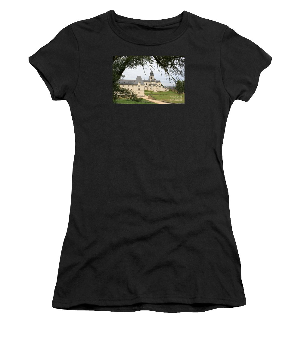 Cloister Women's T-Shirt (Athletic Fit) featuring the photograph Cloister Fontevraud View - France by Christiane Schulze Art And Photography