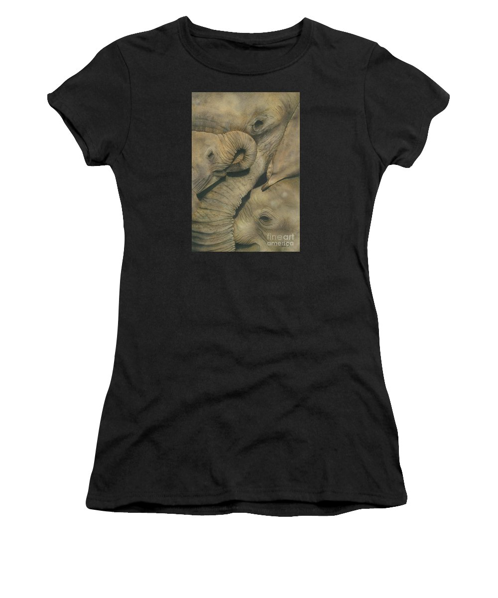 Transparent Watercolours On Arches 300 Gsm Watercolour Paper. Women's T-Shirt featuring the painting Close Family by Christelle Grey