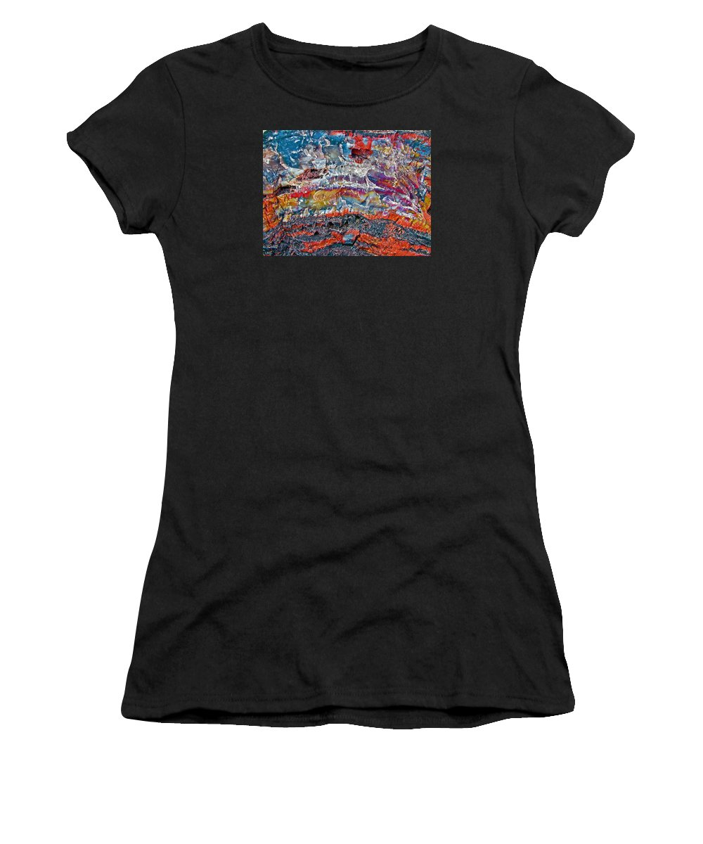 Closeup Of Petrified Wood In Crystal Forest In Petrified Forest National Park Women's T-Shirt (Athletic Fit) featuring the photograph Closeup Of Petrified Wood In Crystal Forest In Petrified Forest National Park- Arizona by Ruth Hager