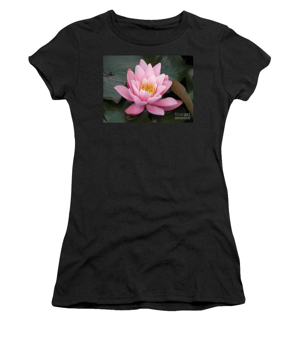 Lotus Women's T-Shirt (Athletic Fit) featuring the photograph Closeup Of Pink Waterlily In A Pond by Kerstin Ivarsson