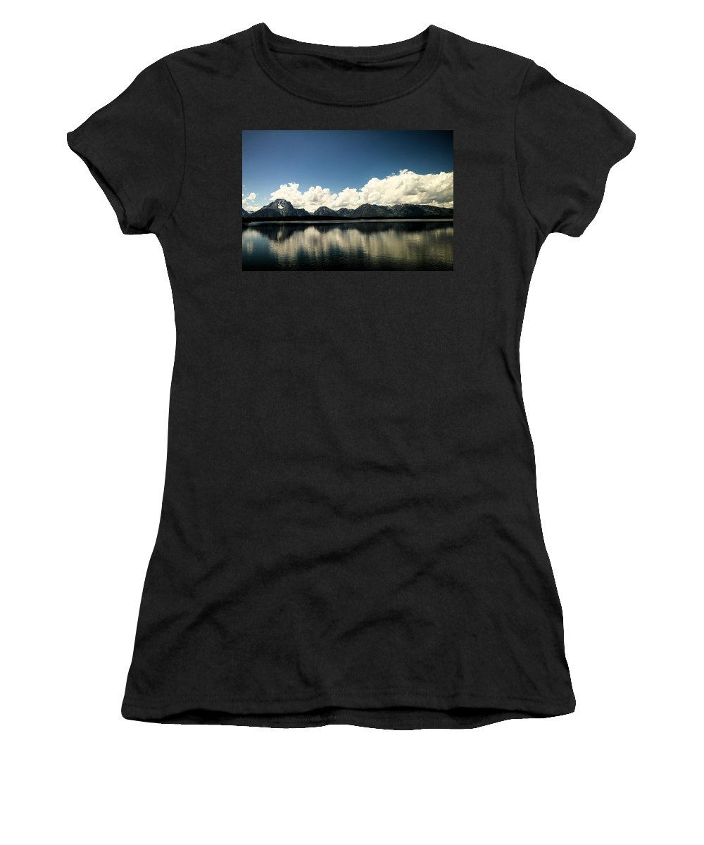 Landscape Women's T-Shirt (Athletic Fit) featuring the photograph Clouds In The Grand Tetons by Jeff Swan