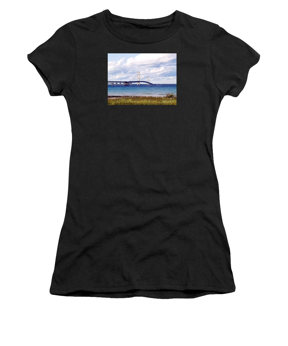 Bridge Women's T-Shirt (Athletic Fit) featuring the photograph Clouds Over Mackinaw by Melissa McDole