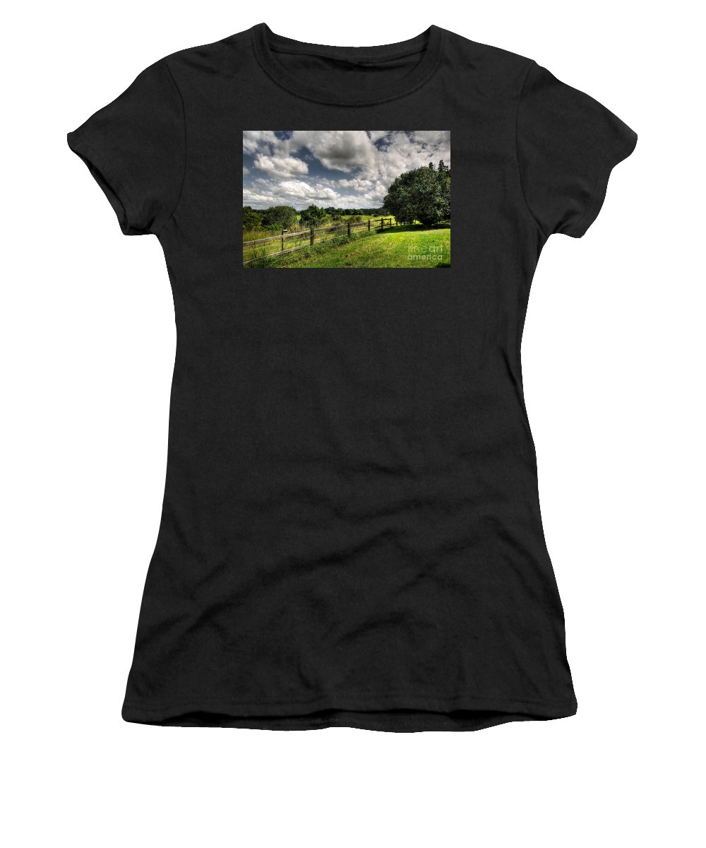 Photography Women's T-Shirt (Athletic Fit) featuring the photograph Cloudy Day In The Country by Kaye Menner