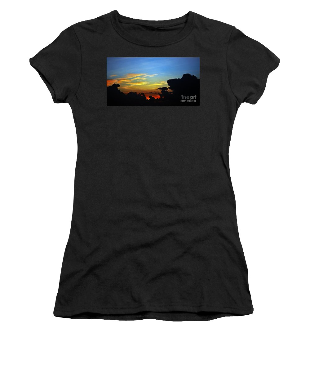 Sunrise Women's T-Shirt featuring the photograph Cloudy Morning In Fort Lauderadale by Judy Wolinsky