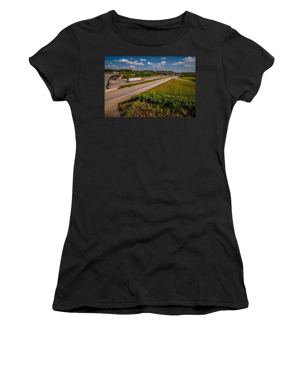 Automobile Women's T-Shirt (Athletic Fit) featuring the photograph Clover Leaf Exit Ramps On Highway Near City by Alex Grichenko