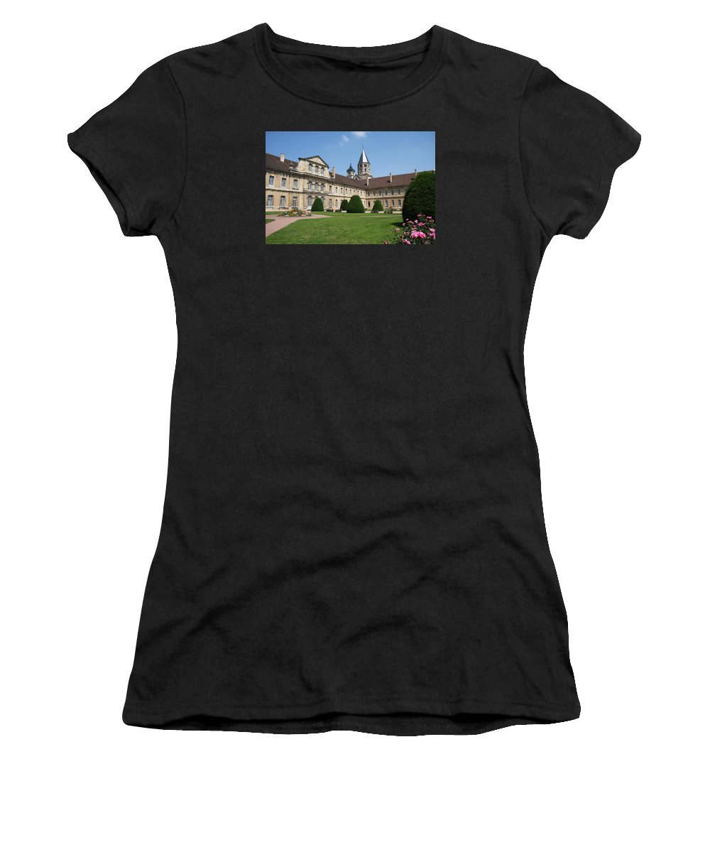 Cloister Women's T-Shirt (Athletic Fit) featuring the photograph Cluny Abbey - Burgundy by Christiane Schulze Art And Photography