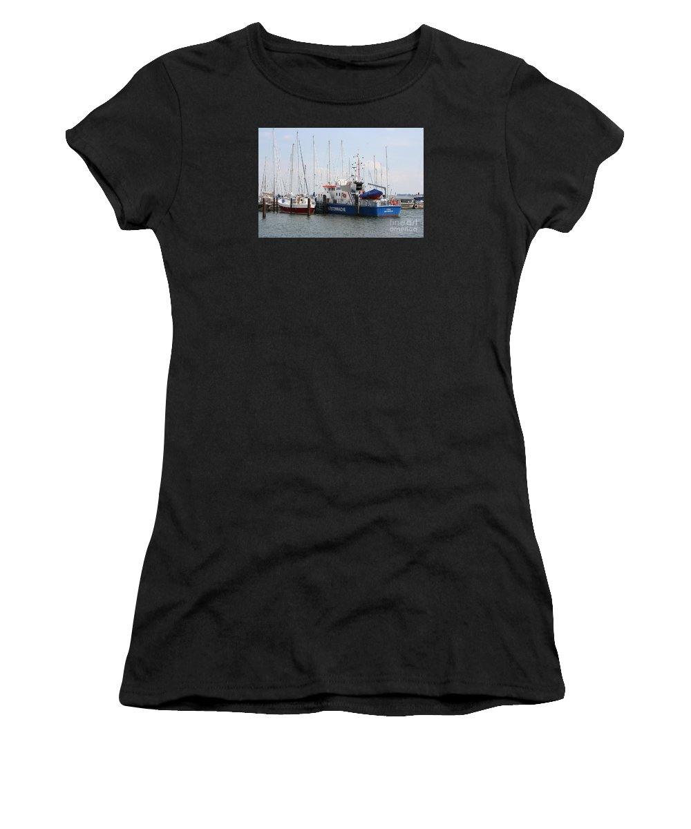Harbor Women's T-Shirt (Athletic Fit) featuring the photograph Coast Guard Maasholm Harbor by Christiane Schulze Art And Photography