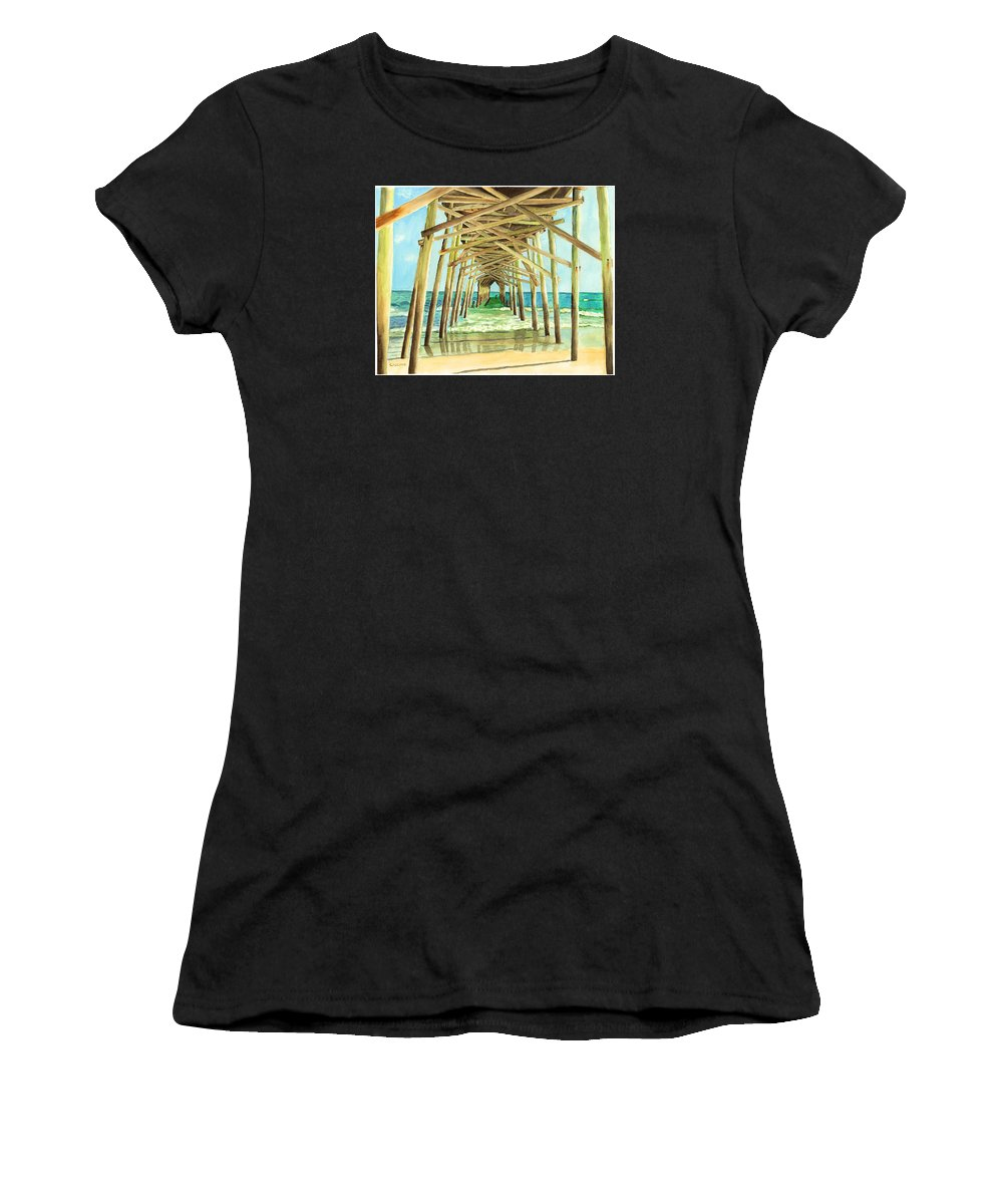 Ocean Women's T-Shirt featuring the painting Coastal Cathedral by Jill Ciccone Pike