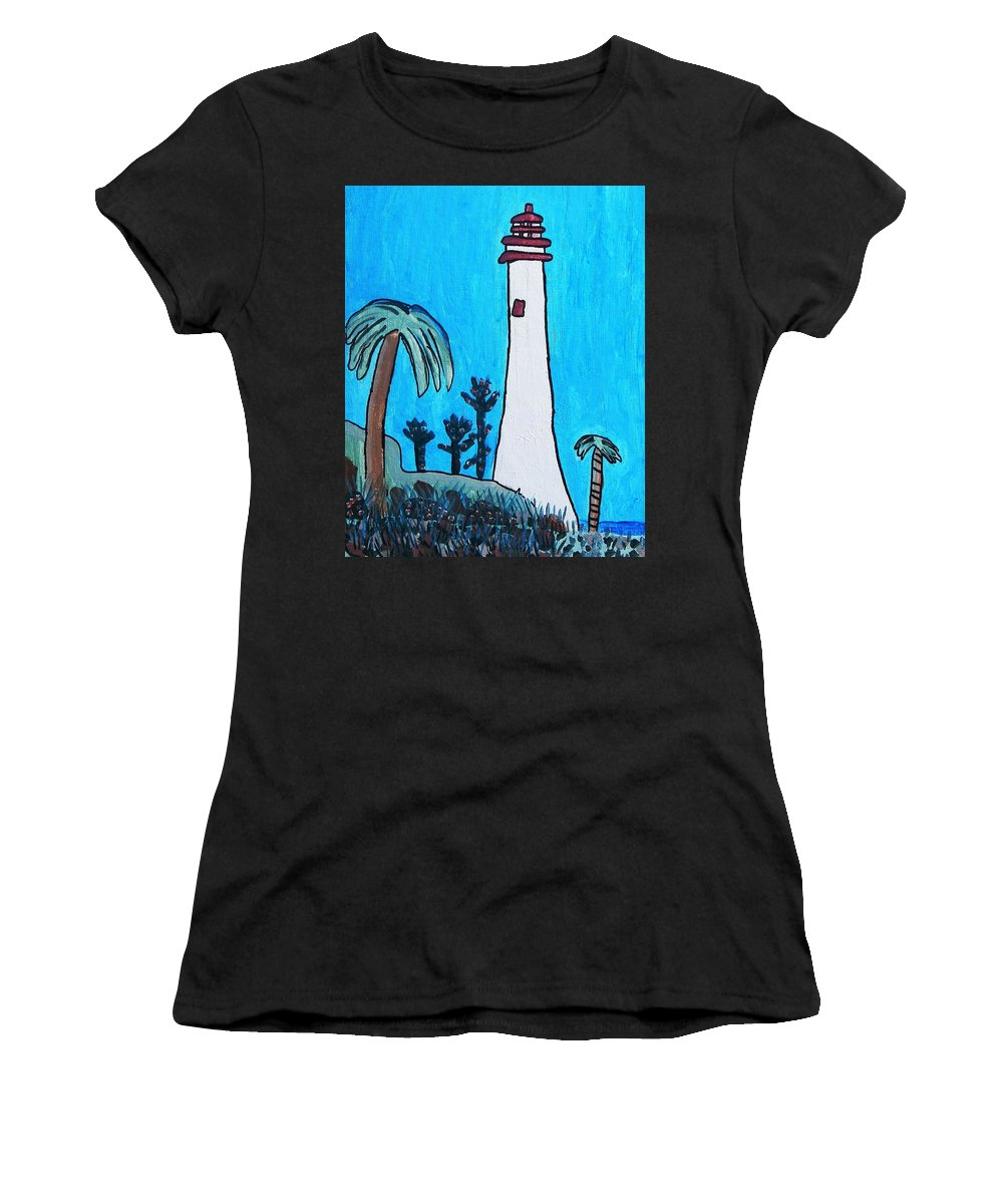 Brandon Drucker Women's T-Shirt featuring the painting Coastal Lighthouse by Artists With Autism Inc