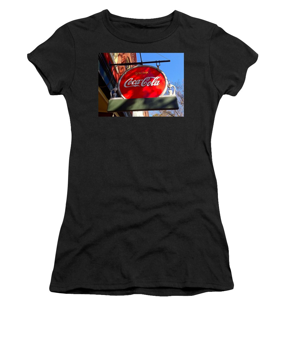 Coca Cola Women's T-Shirt featuring the photograph Coca Cola Sign In Georgia by Denise Mazzocco