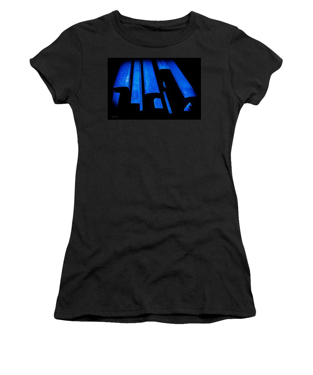 Abstracts Women's T-Shirt (Athletic Fit) featuring the photograph Cold Blue Steel by Steven Milner