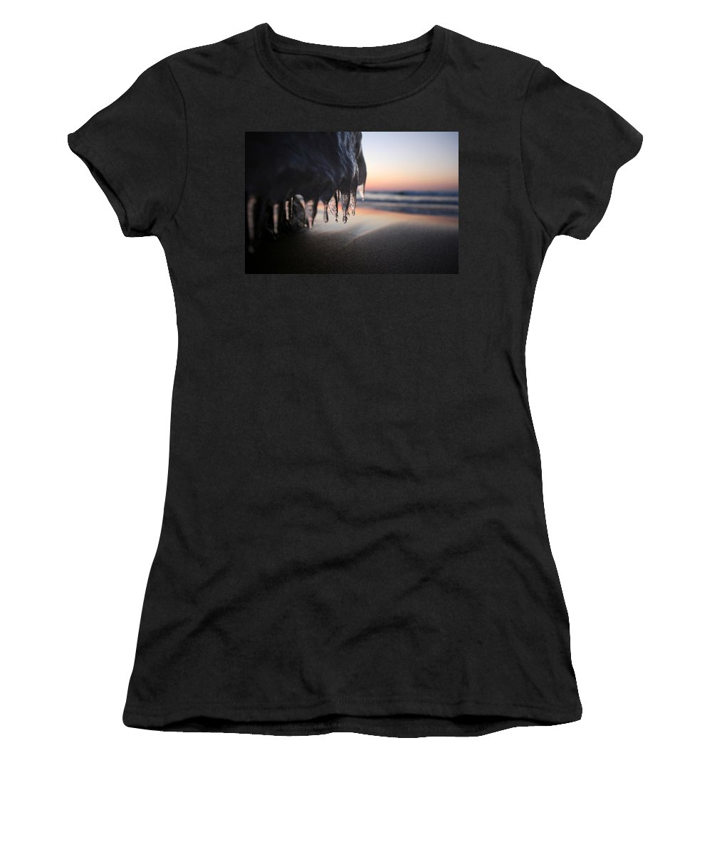 Ice Women's T-Shirt featuring the photograph Cold Sunset by Allan Lovell