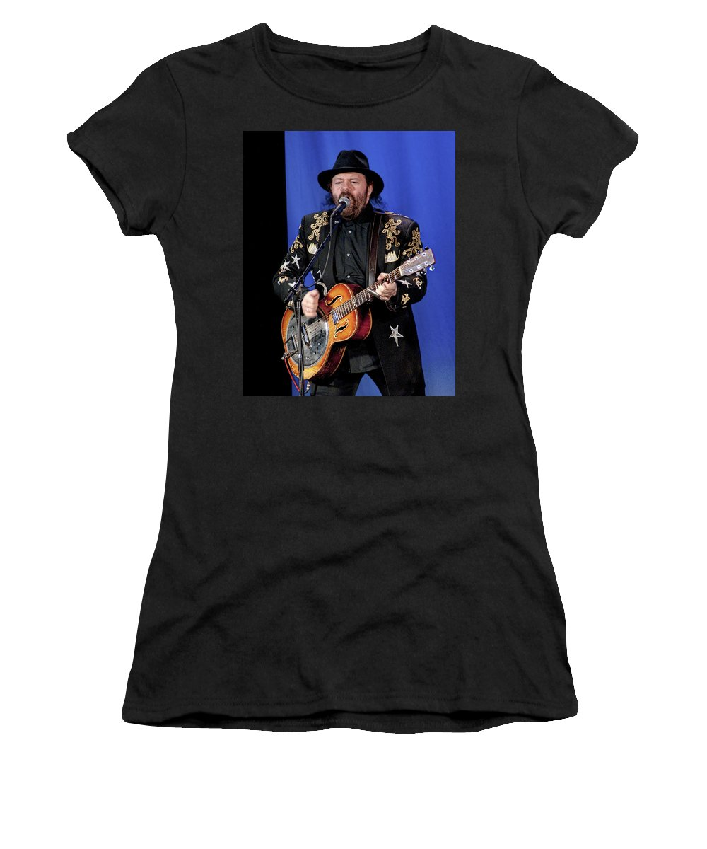 Art Women's T-Shirt featuring the photograph Colin Linden Of Blackie And The Rodeo Kings by Randall Nyhof