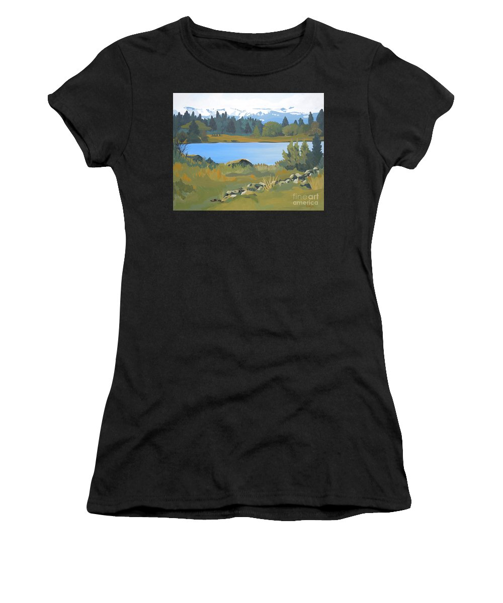 Mountains Women's T-Shirt (Athletic Fit) featuring the painting Colorado Mountains by Tonya Henderson