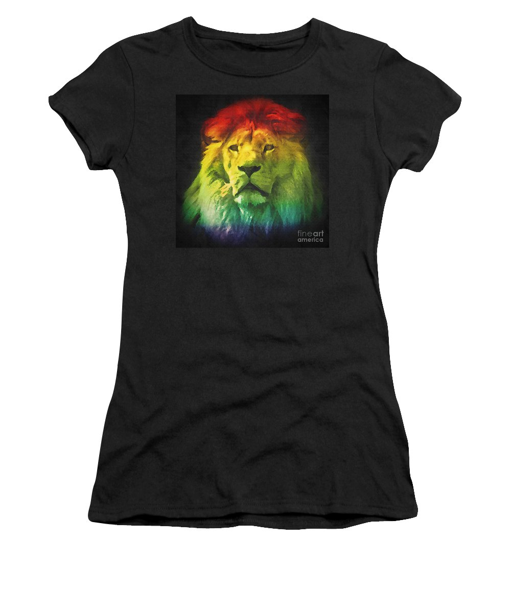 Lion Women's T-Shirt featuring the photograph Colorful Artistic Portrait Of A Lion On Black Background by Michal Bednarek