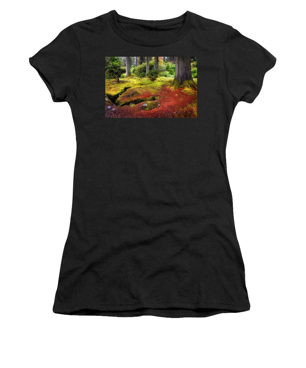 Scotland Women's T-Shirt featuring the photograph Colorful Carpet Of Moss In Benmore Botanical Garden. Scotland by Jenny Rainbow