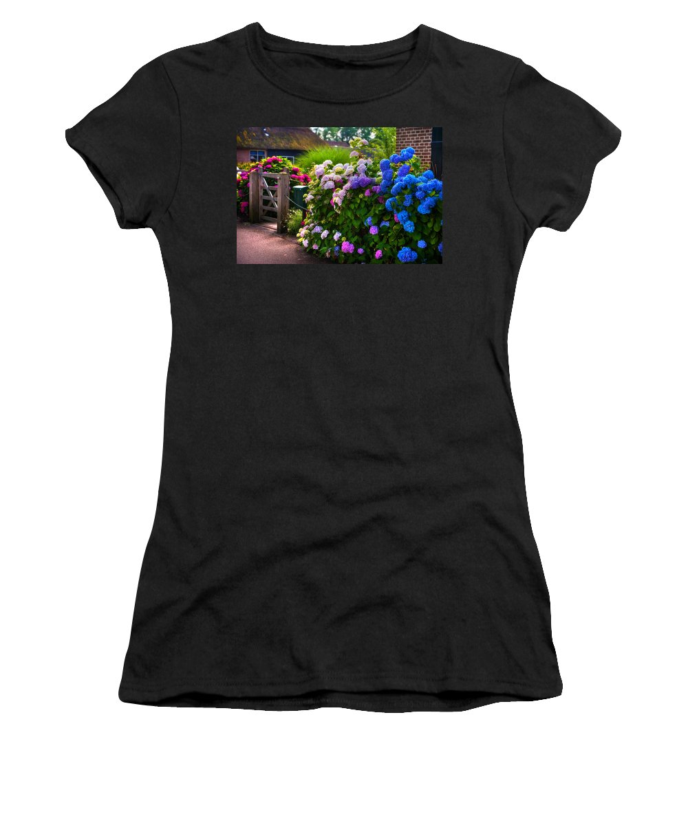 Netherlands Women's T-Shirt featuring the photograph Colorful Hydrangea At The Gate. Giethoorn. Netherlands by Jenny Rainbow