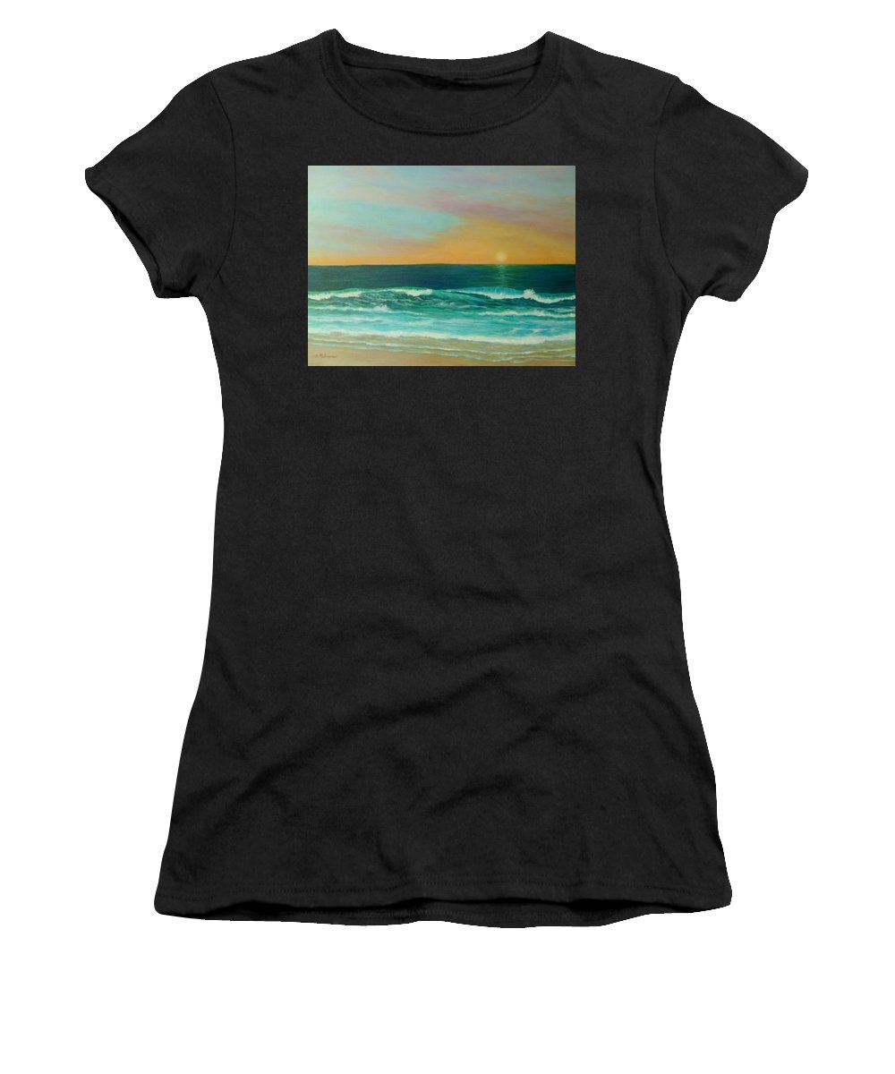 Sunset Women's T-Shirt featuring the painting Colorful Sunset Beach Paintings by Amber Palomares