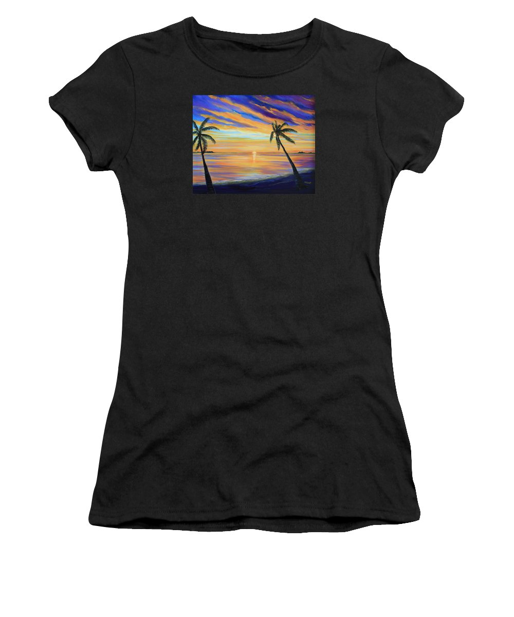 Sunset Women's T-Shirt (Athletic Fit) featuring the painting Colorful Sunset by Nancy Chenet