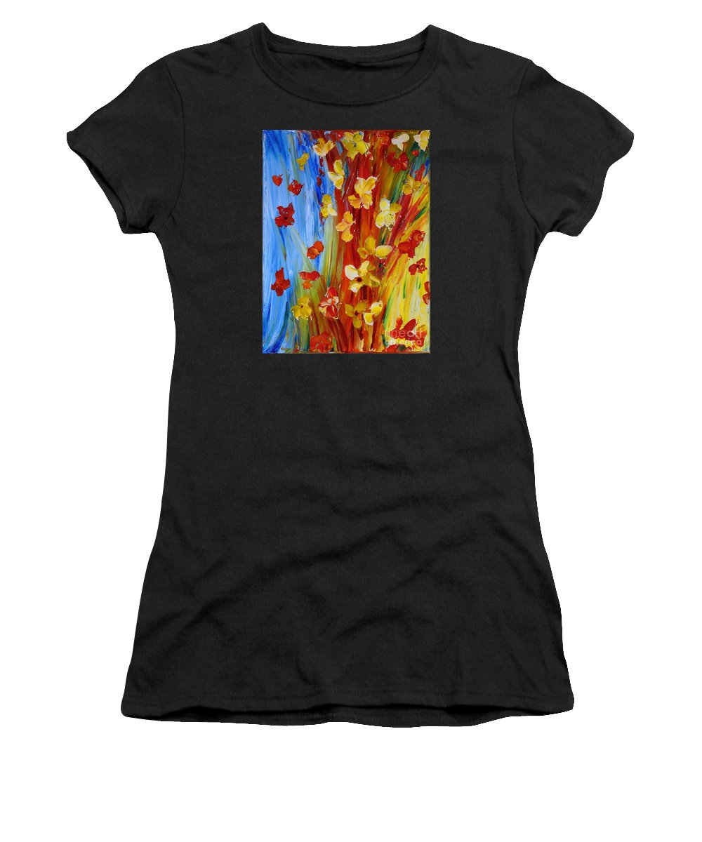 Flowers Women's T-Shirt (Athletic Fit) featuring the painting Colorful World by Teresa Wegrzyn