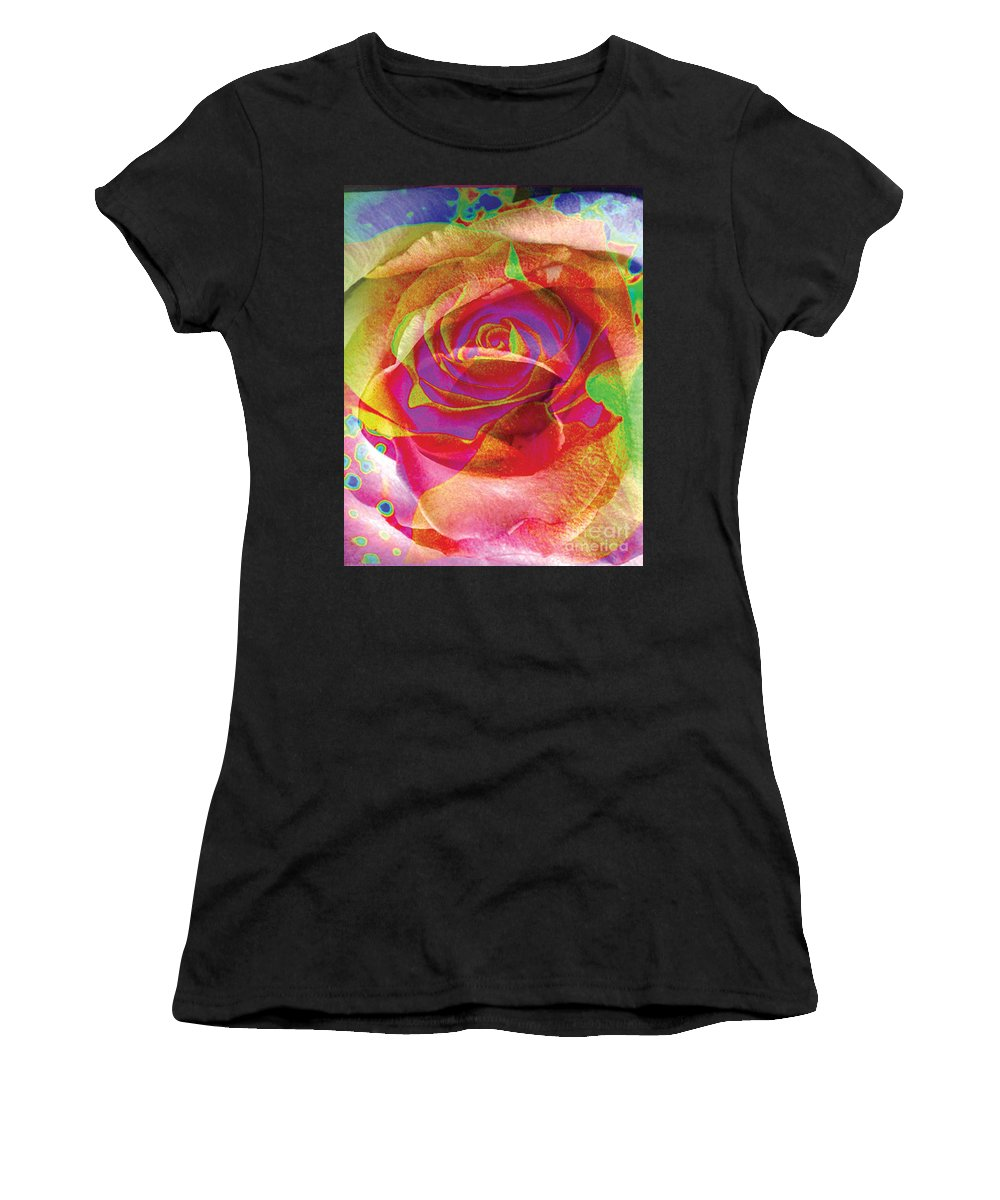Rose Flower Women's T-Shirt (Athletic Fit) featuring the digital art Colorfull Rose by Yael VanGruber
