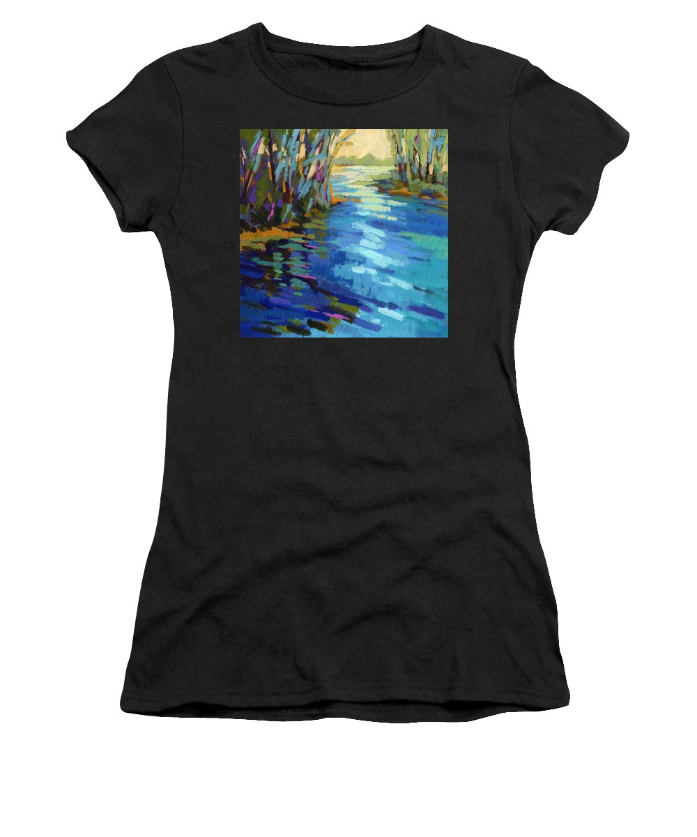 Salmon Women's T-Shirt (Athletic Fit) featuring the painting Colors Of Summer 9 by Konnie Kim