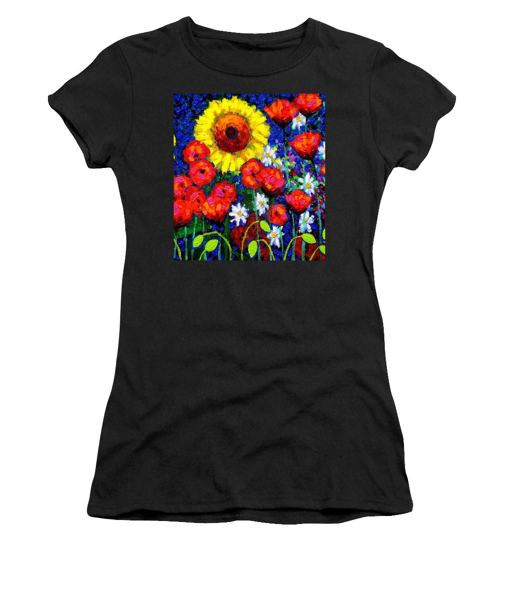 Acrylic Women's T-Shirt featuring the painting Colour Cluster by John Nolan