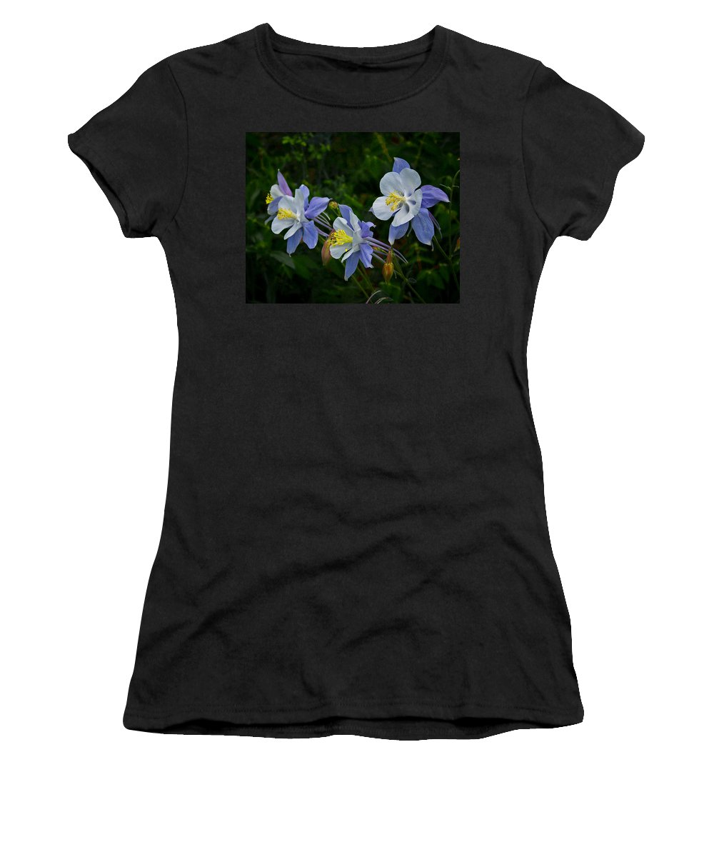 Artwork Women's T-Shirt (Athletic Fit) featuring the photograph Columbines by Ernie Echols