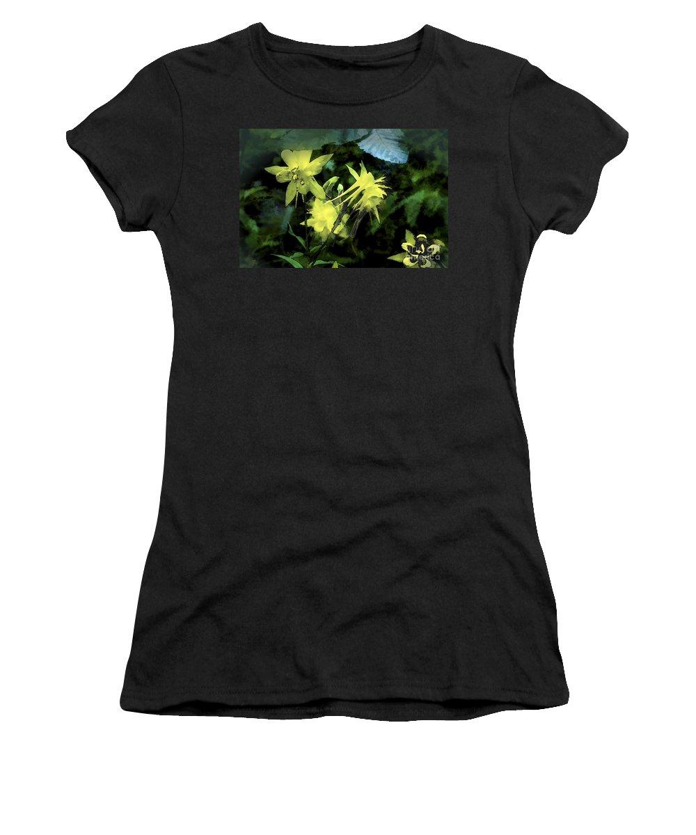Columbines Women's T-Shirt featuring the digital art Columbines Painterly by Georgianne Giese