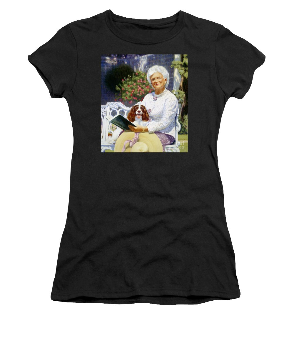 Barbara Bush Women's T-Shirt (Athletic Fit) featuring the painting Companions In The Garden by Candace Lovely