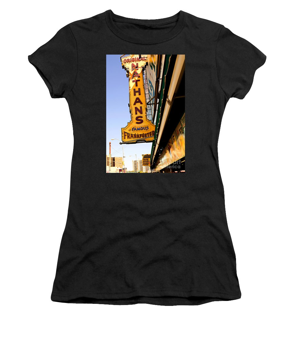 Original Nathans Women's T-Shirt (Athletic Fit) featuring the photograph Coney Island Memories 1 by Madeline Ellis