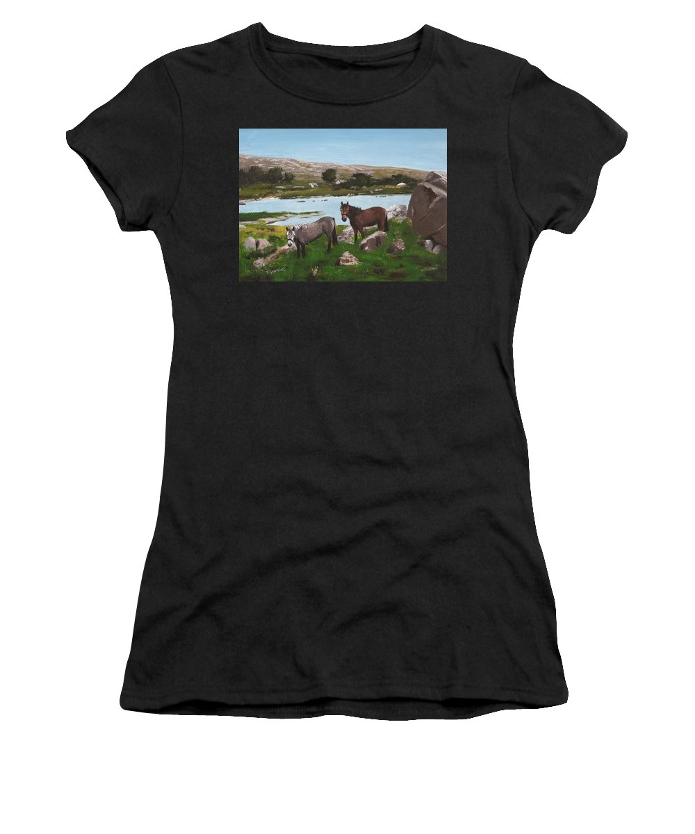 Connemara Women's T-Shirt (Athletic Fit) featuring the painting Connemara Ponies by Tony Gunning