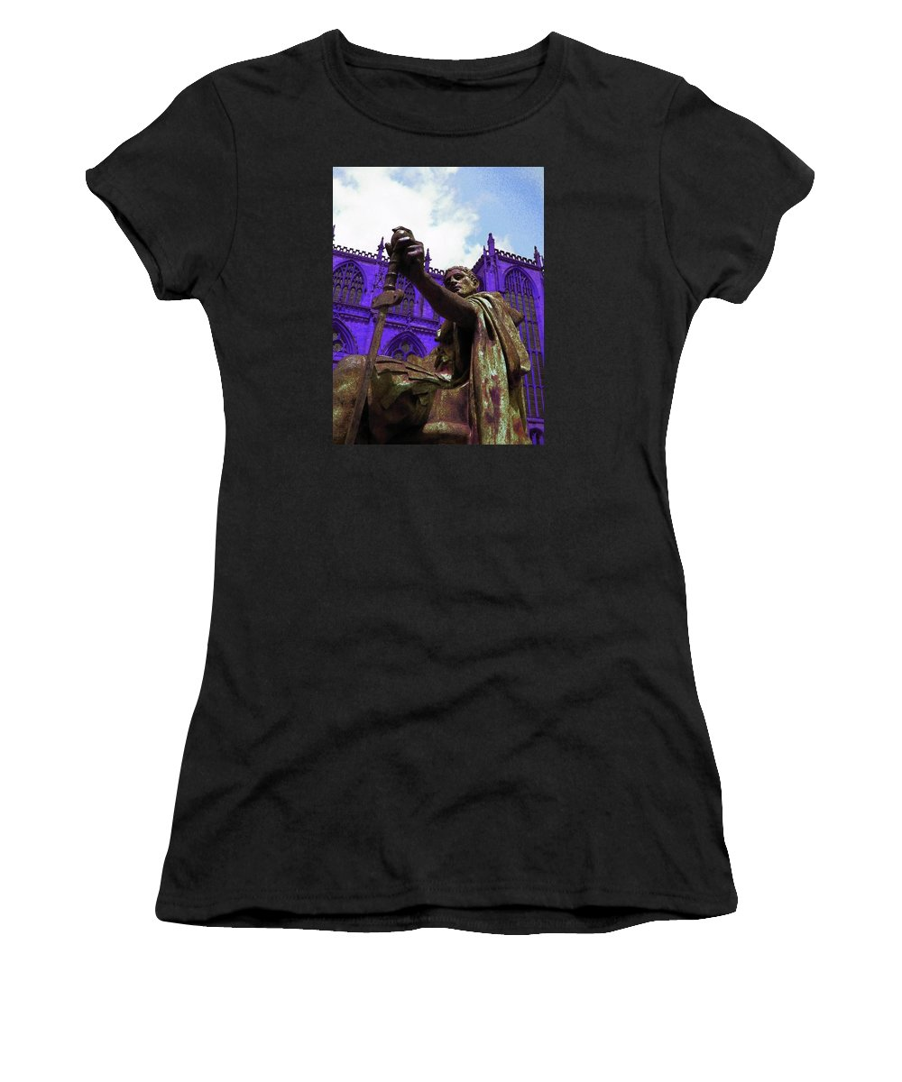 Yorkminster Abbey Women's T-Shirt featuring the photograph Constantine The Emperor At Yorkminster by Pamela Smale Williams